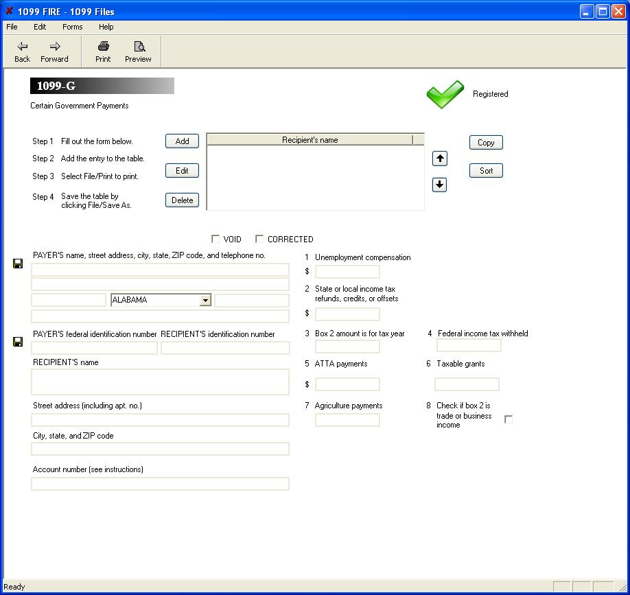 Irs Form 1099 G Software 79 Print 289 Efile 1099 G
