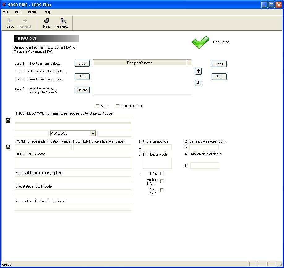 Form 1099-SA Software - $79 print, $289 eFile | 1099-SA Software