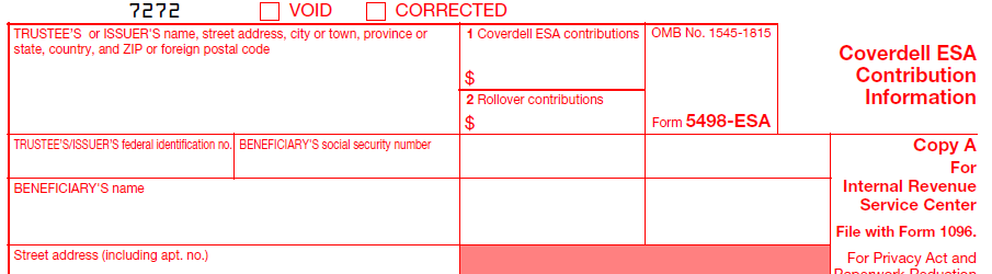 IRS Form 5498-ESA