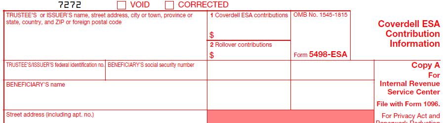 IRS Form 5498-ESA