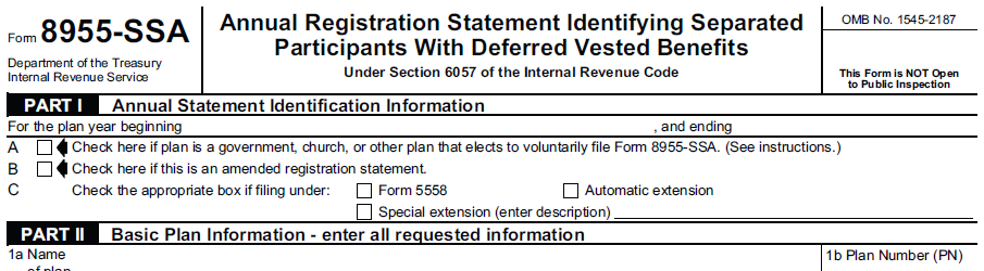 with Deferred Vested Benefits (formerly Schedule SSA (Form 5500
