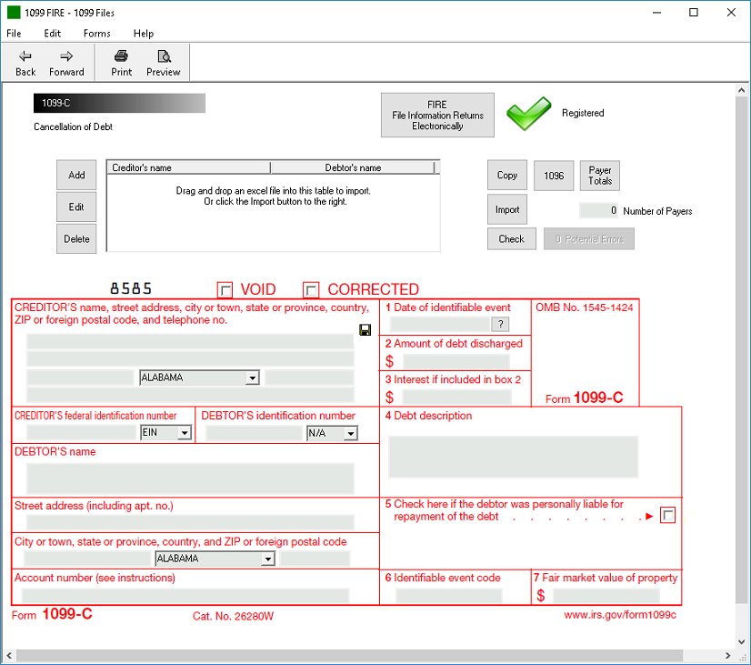 IRS Form 1099-C Software - $79 Print, $289 EFile