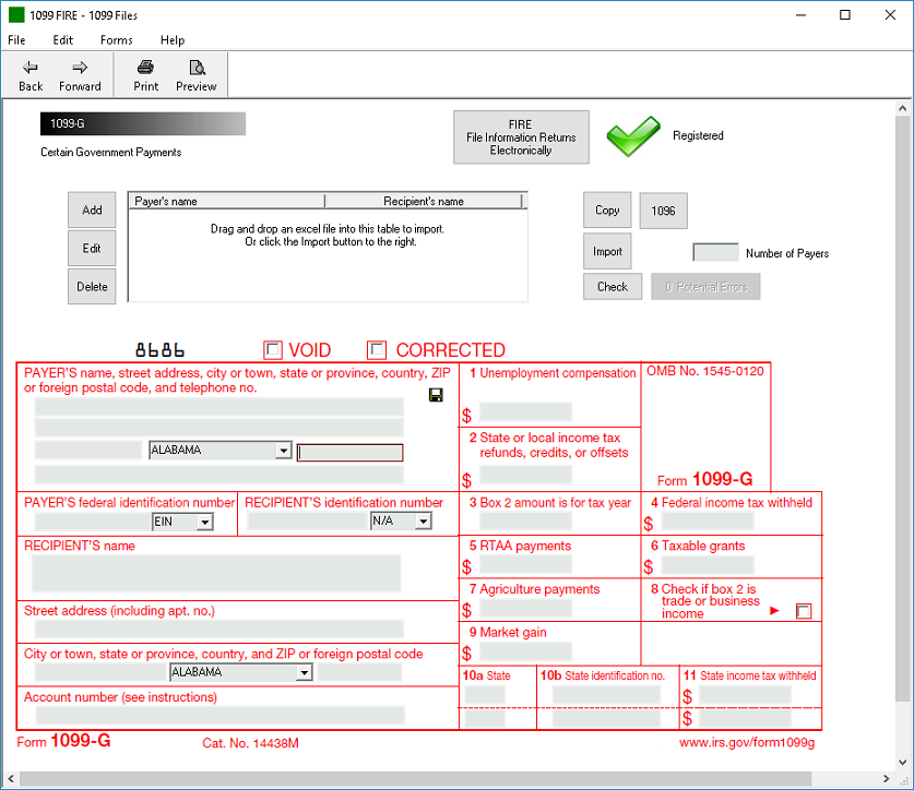IRS Form 1099-G Software - $79 Print, $289 EFile