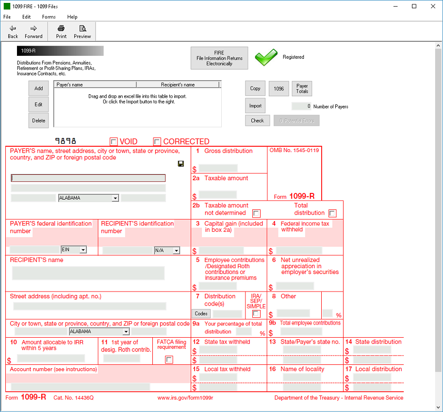 IRS Form 1099-R Software - $79 Print, $289 EFile