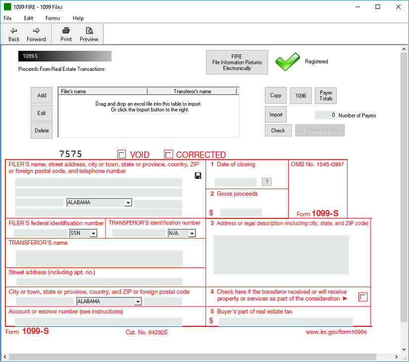 IRS Form 1099-S Software - $79 Print, $289 EFile