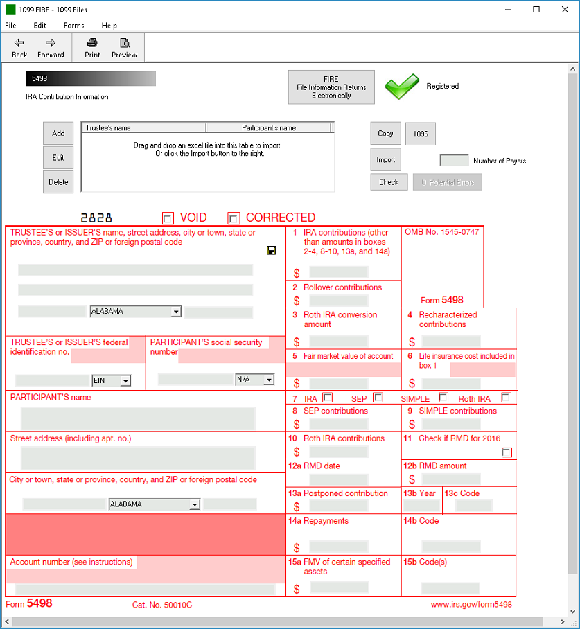 IRS Form 5498 Software - $289 EFile