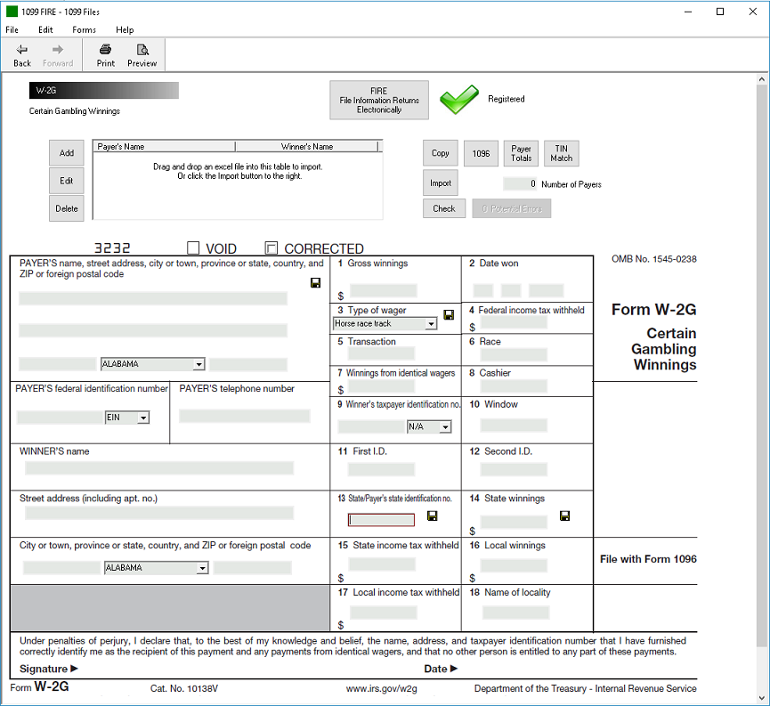 IRS Form W-2G Software - $289 EFile, $449 Outsource
